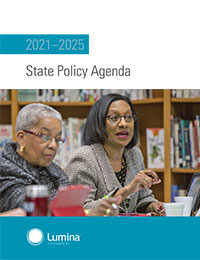 Cover of Lumina State Policy Agenda 2021 - 25 depicts two women on the cover in a larger discussion