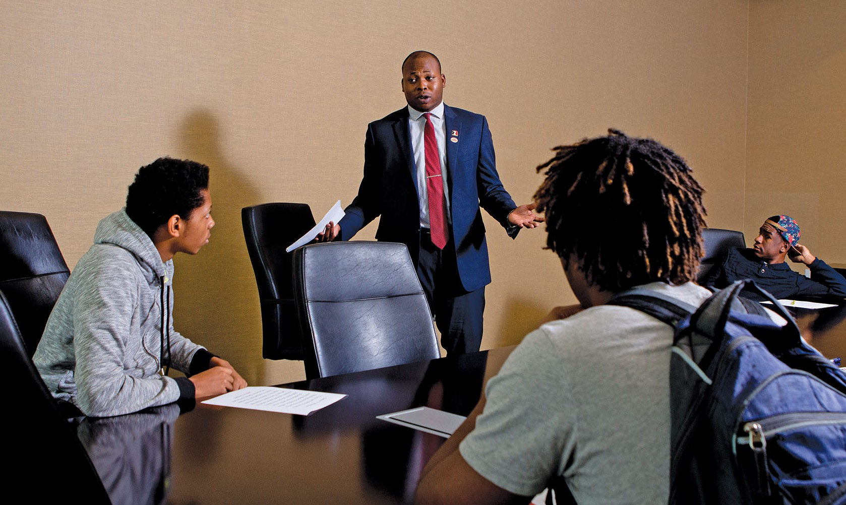 Snelling, once a leader on the basketball court, now leads in campus conference rooms. He regularly directs meetings of B2B and of a campus program called GHAME (Georgia Highlands African-American and Minority Male Excellence).