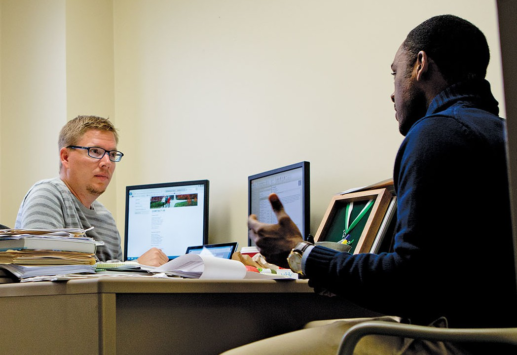 Range meets with Russell Johnson, an assistant professor of management at Michigan State. Johnson is the instructor of one of Range's doctoral courses, a seminar in organizational behavior