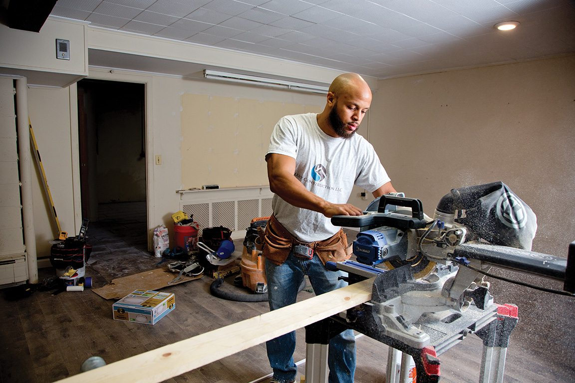Chris Aina, another ex-inmate making the transition under the watchful eye of Wanda Brown, juggles his College Unbound classes with a job in the construction trades. He plans someday to have his own contracting firm.