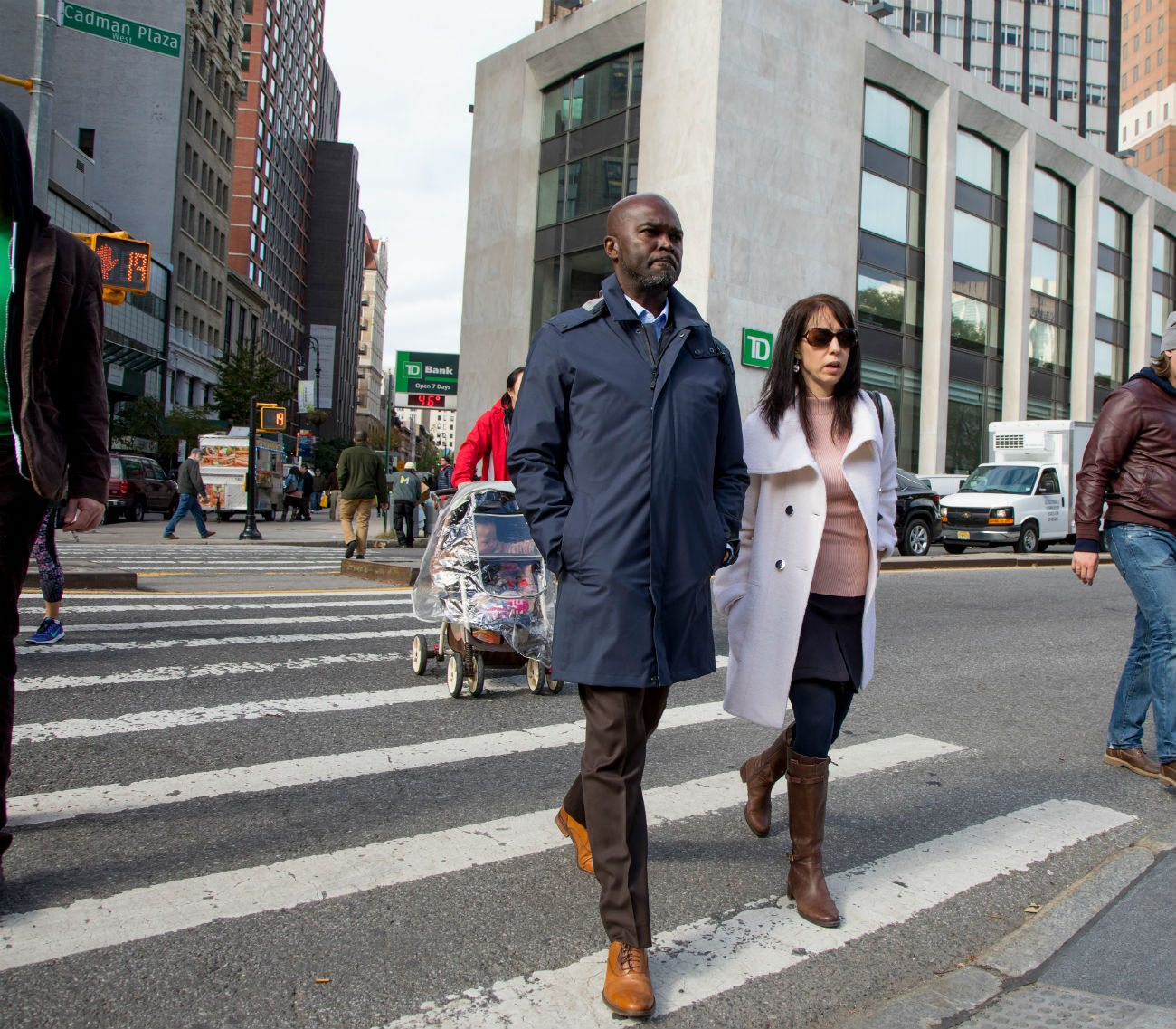 Wesley Caines (left) walks with Laura Liebman