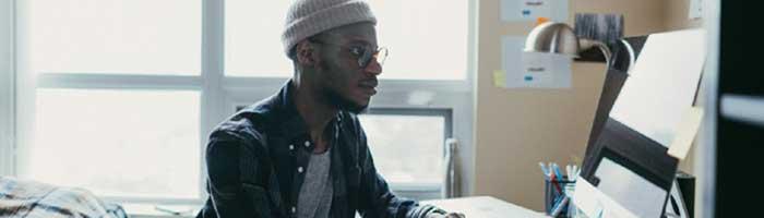 Black student at computer