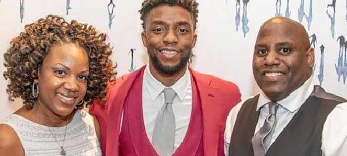 Chadwick Boseman with Danette and William Howard II.