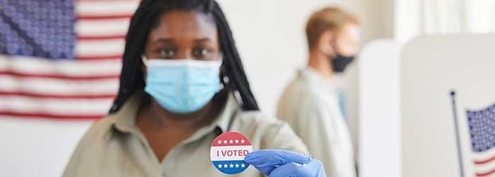 Black female voter, stock photo.