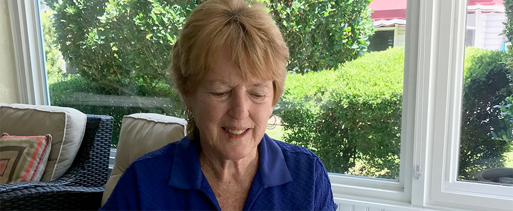 Retired teacher Nancy Gavin aids Indiana students by taking calls on the homework hotline from her home in central Florida.