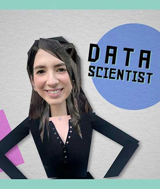 Stick figure of data scientist with hands on hips.