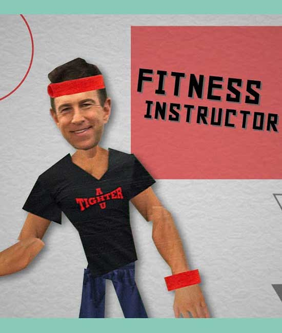 Stick figure of a fitness instructor wearing red sweat bands.