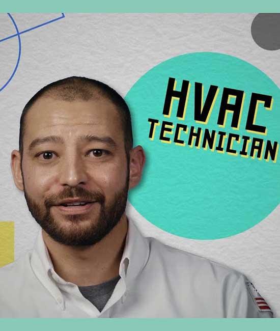 Face of bearded HVAC Technician.