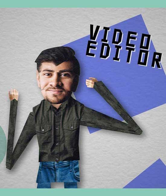 Stick figure video edito man.