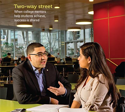 Cover detail from Spring 2014 issue of Focus shows a man and woman talking in a campus common study area.