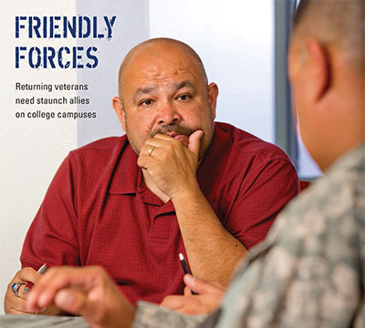Cover image from Spring 2013 issue pictures a couple of student soldiers.