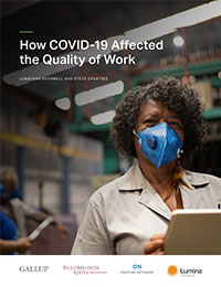 Cover image from report depicts a Black, female worker in a blue COVID mask.