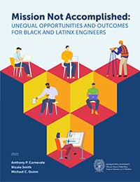 Report cover with pictograms of workers on a Q*bert style of isometric platforms.