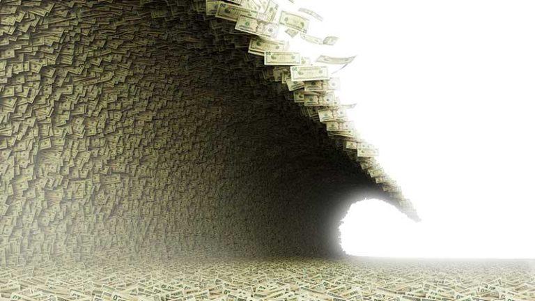 A fantastical image of a tsunami bringing in waves of money.