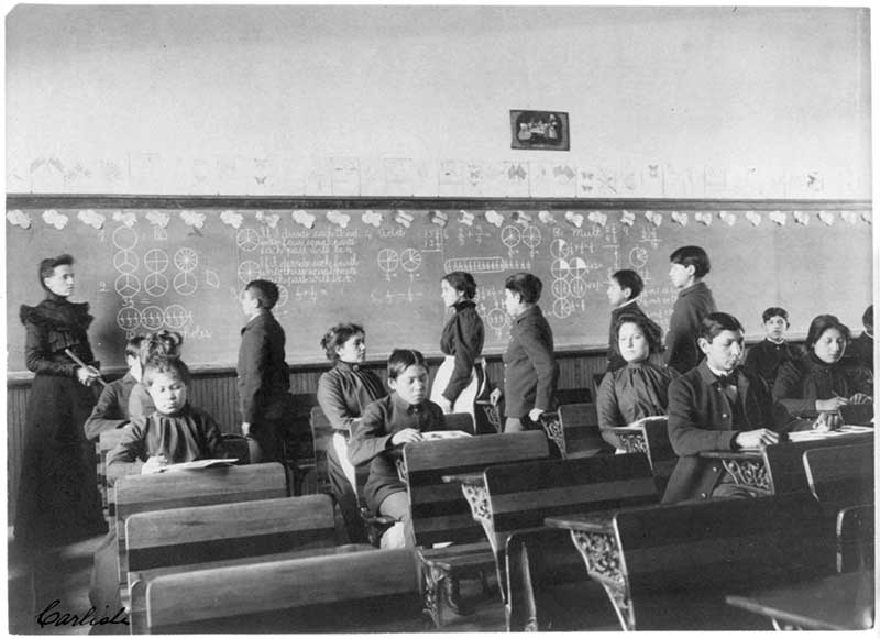 Native American students at the Carlisle Indian Industrial School in Pennsylvania. Between 1879 and 1918