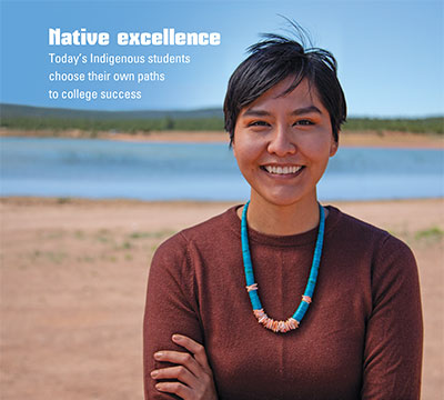 Magazine cover shows a smiling member of the Navajo nation, Harley Interpreter, standing in front of a lake.