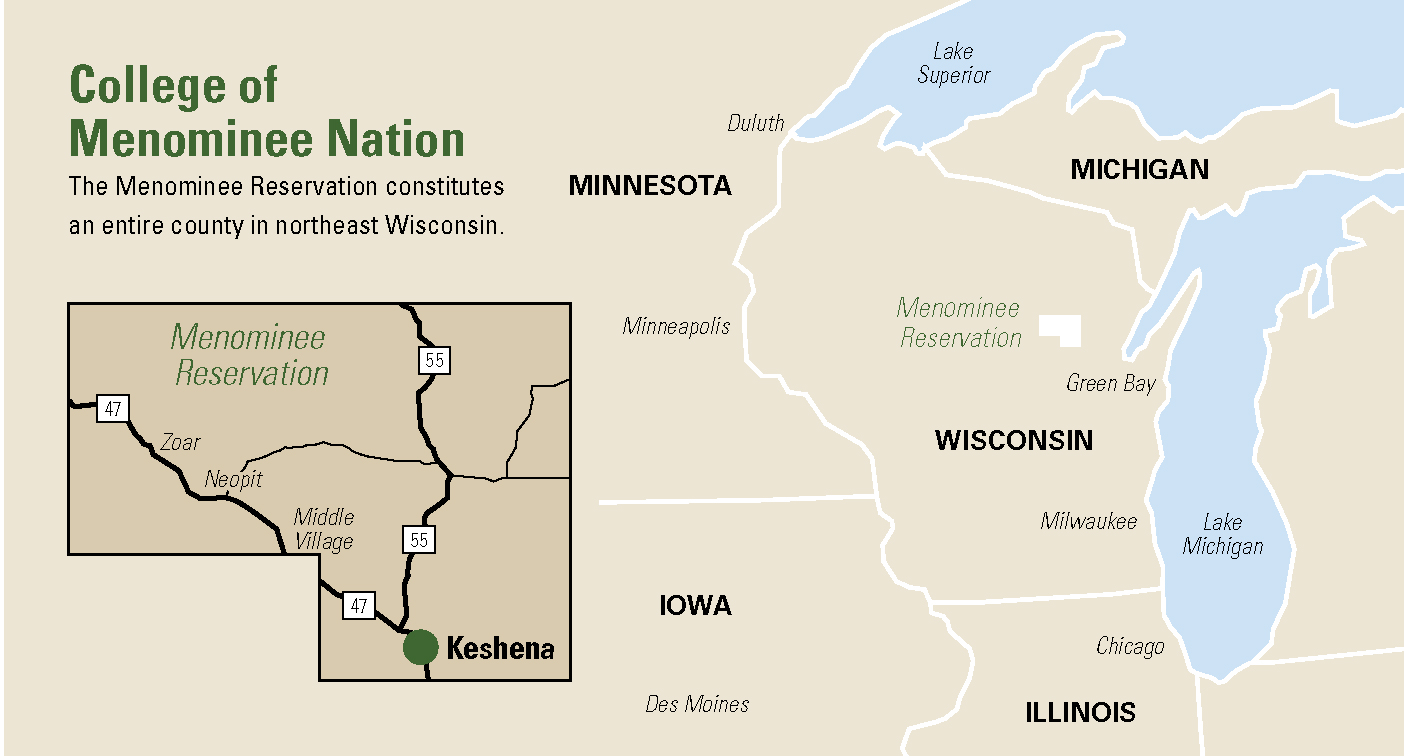 College of Menominee Nation map